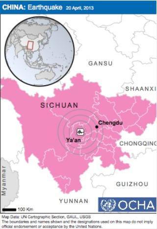 Sichuan 4-20-2013 earthquake map